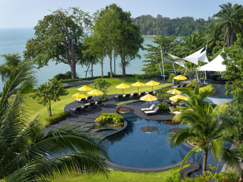 Family pool at the shellsea krabi luxury resort on fossil shell beach krabi